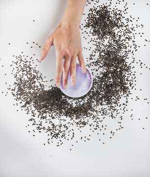 Woman's hands holding purple moisturizing cream with bakuchiol ingredient. Babchi seeds (Psoralea corylifolia). Bakuchiol cosmetics concept. Flat lay, copy space.