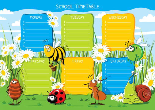 School timetable insects in a flower meadow