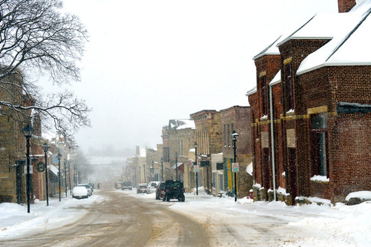 Snowy day in a small town in Wisconsin