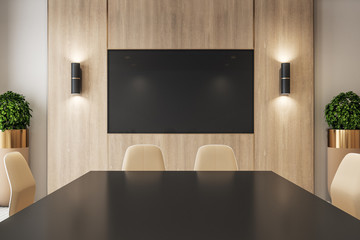 Meeting room interior with empty tv screen