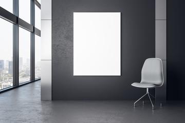 Concrete interior with poster