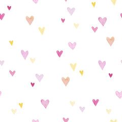 Beautiful watercolor hearts background. Cute pink heart seamless pattern. Colorful watercolor romantic texture for packaging, wallpaper. Valentine's day, pattern with hearts, wedding.