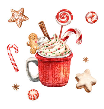 Hot chocolate watercolor illustration. Winter Christmas drink, red cup in crochet cozy with sugar gingerbread cookie, whipped cream, candy cane, lollipop, cinnamon stick, isolated on white background.