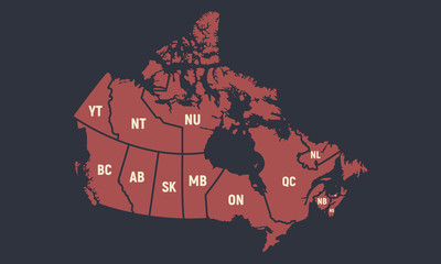 Canada poster map with short provinces names. Vintage Canadian background. Vector illustration