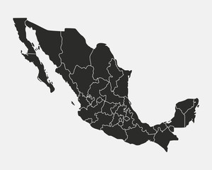 Wall Mural - Mexico blank map with states isolated on white background. Map of Mexico. Vector illustration