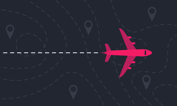 Plane flies over a landscape with map pointers and dashed lines. Motivation or travel concept. Vector illustration