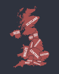 Wall Mural - Poster map of United Kingdom with country and regions names. Great Britain background. Print for T-shirt, typography. Vector illustration