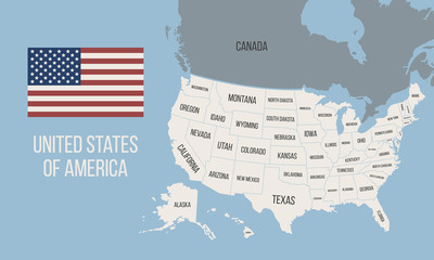 Wall Mural - Map of the USA with state names. United States map. Vector illustration