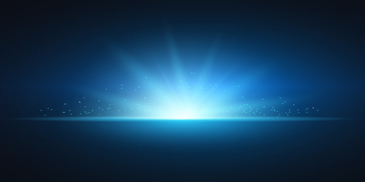 Abstract lights, bright flashes and glare of blue color, bright rays of light, glowing lines - stock vector