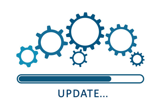 Update icon with gears. Loading or updating files, install new software, operating system, update support, setting options, maintenance, adjusting app process, service concept – stock vector