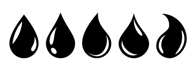 Water or oil drop set icons – stock vector