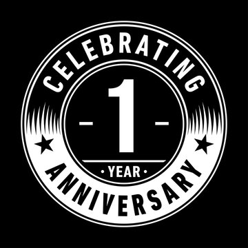 1 year anniversary celebration logo template. One year vector and illustration.