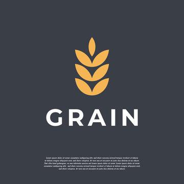 Simple Luxury Grain wheat logo concept, Agriculture wheat Logo Template vector icon