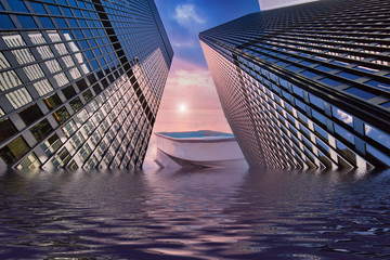 Concept of the flood in Ontario Lake in Toronto due to disastrous consequences of global warming and climate change