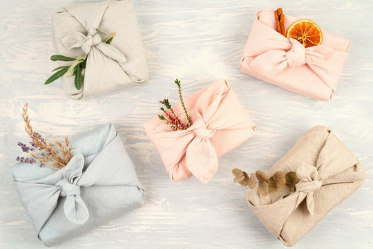 Zero waste gift wrapping traditional Japanese furoshiki style.