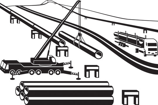 Building of above ground pipeline - vector illustration