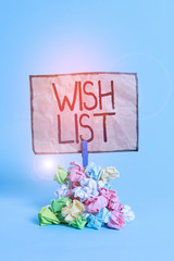 Word writing text Wish List. Business photo showcasing List of desired but often realistically...