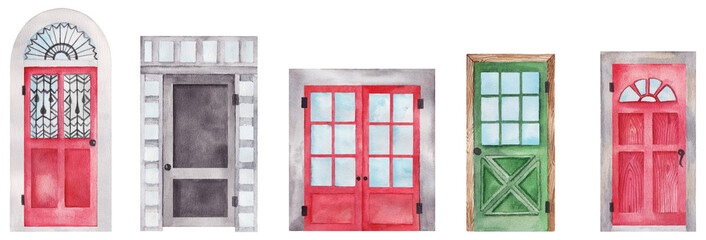 Watercolor doors set painting. Red, green and gray doors with windows isolated on white background.