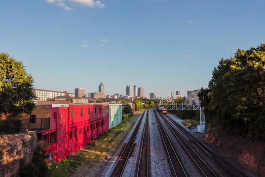 Train tracks Atlanta Skyline Cityscape