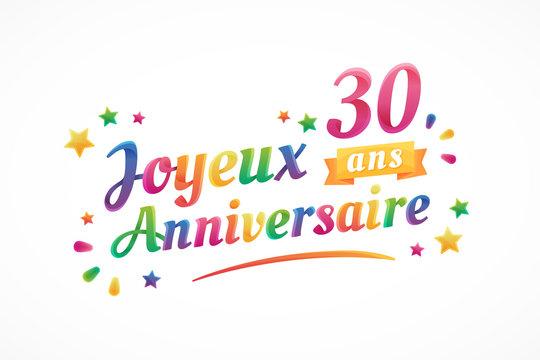 Joyeux Anniversaire - 30 ans - Carte de vœux