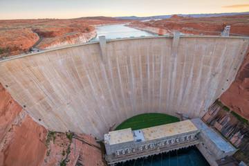 The Glen Canyon Dam with Lake Powell near Page, Arizona