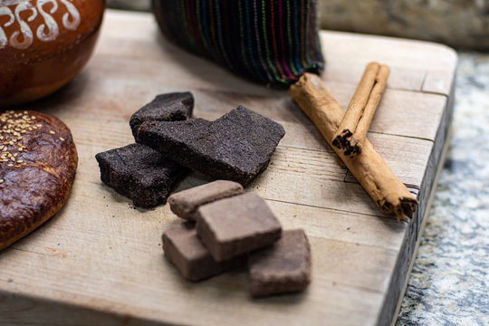 Traditional Mexican chocolate bar and spices
