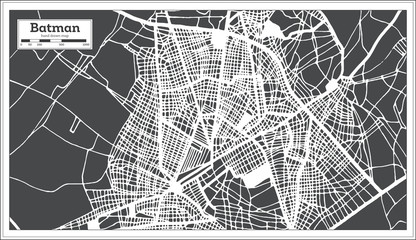 Batman Turkey City Map in Retro Style. Outline Map.