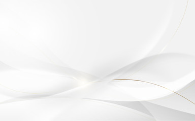 Wall Mural - Abstract modern futuristic white wavy and gold lines with blurred light curved lines background