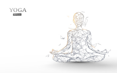 Person practices yoga and meditation in the lotus position. Zen meditation exercise. Lines, triangles and particle design Fototapete