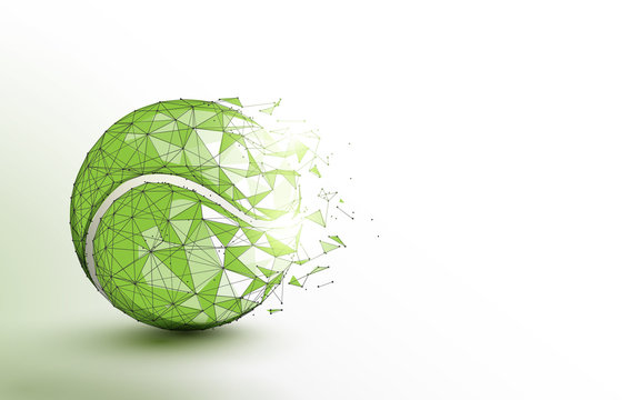 Tennis ball form lines, triangles and particle style design. Illustration vector