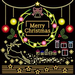 クリスマス ネオン管風イラストセットA