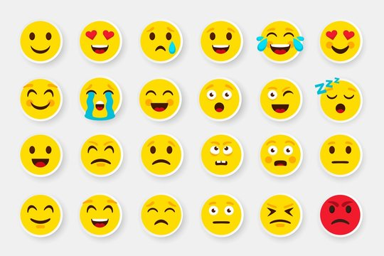 Emoji sticker face set. Emoticon cartoon emojis symbols. Vector digital chat objects icons set. How express feeling to looking good pack that be nice buy