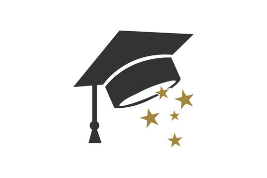 Graduate Hat icon with star vector illustration