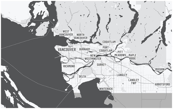 Greater Vancouver map and municipalities. Canada, British Columbia. Dark color theme with text.