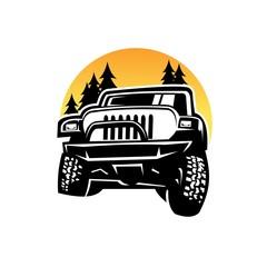 silhouette jeep riding through wild vector illustration design