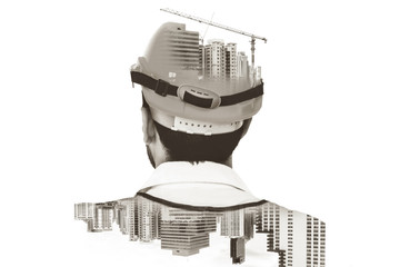 Future building construction engineering project concept with double exposure graphic design....