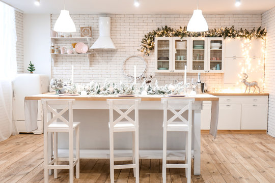 Interior of kitchen decorated for Christmas celebration