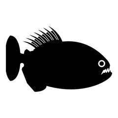 Piranha angry fish icon black color vector illustration flat style image