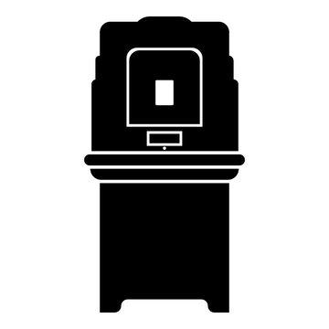 Electoral voting machine Electronic EVM Election equipment VVPAT icon black color vector illustration flat style image