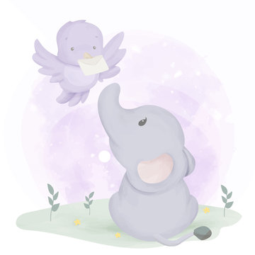Baby Elephant Get Mail From Bird