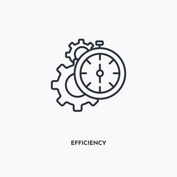 Efficiency outline icon. Simple linear element illustration. Isolated line Efficiency icon on white background. Thin stroke sign can be used for web, mobile and UI.