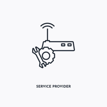 Service provider outline icon. Simple linear element illustration. Isolated line Service provider icon on white background. Thin stroke sign can be used for web, mobile and UI.