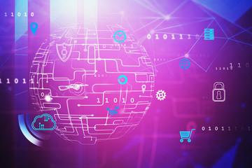 Fotobehang - Purple digital icons interface, global network