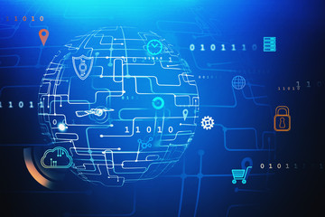 Fotobehang - Blue digital icons interface, global network