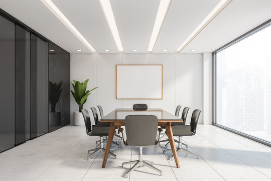 Black marble conference room with poster