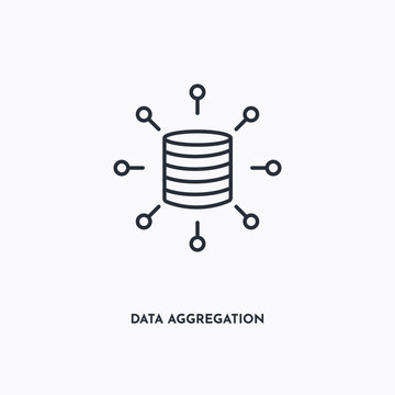 data aggregation outline icon. Simple linear element illustration. Isolated line data aggregation icon on white background. Thin stroke sign can be used for web, mobile and UI.