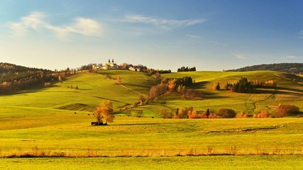 Canvas Prints Honey Mountain of Mother of God - beautiful autumn landscape with monastery in Czech Republic