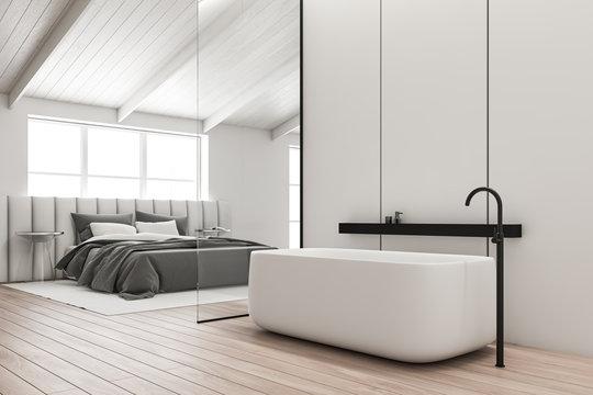 Attic bathroom and white bedroom interior