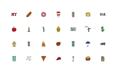 bundle of new york city set icons