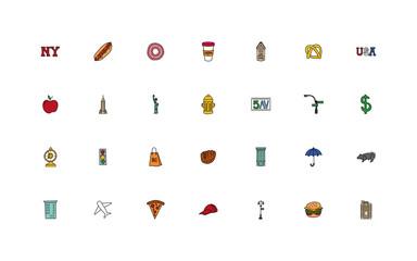 bundle of new york city set icons Fototapete